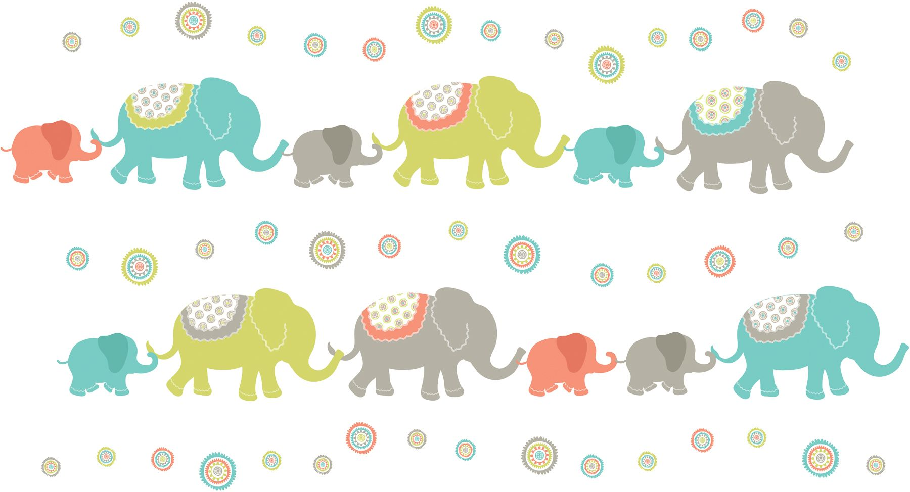 Tag Along Elephant Wall Art Sticker Kit